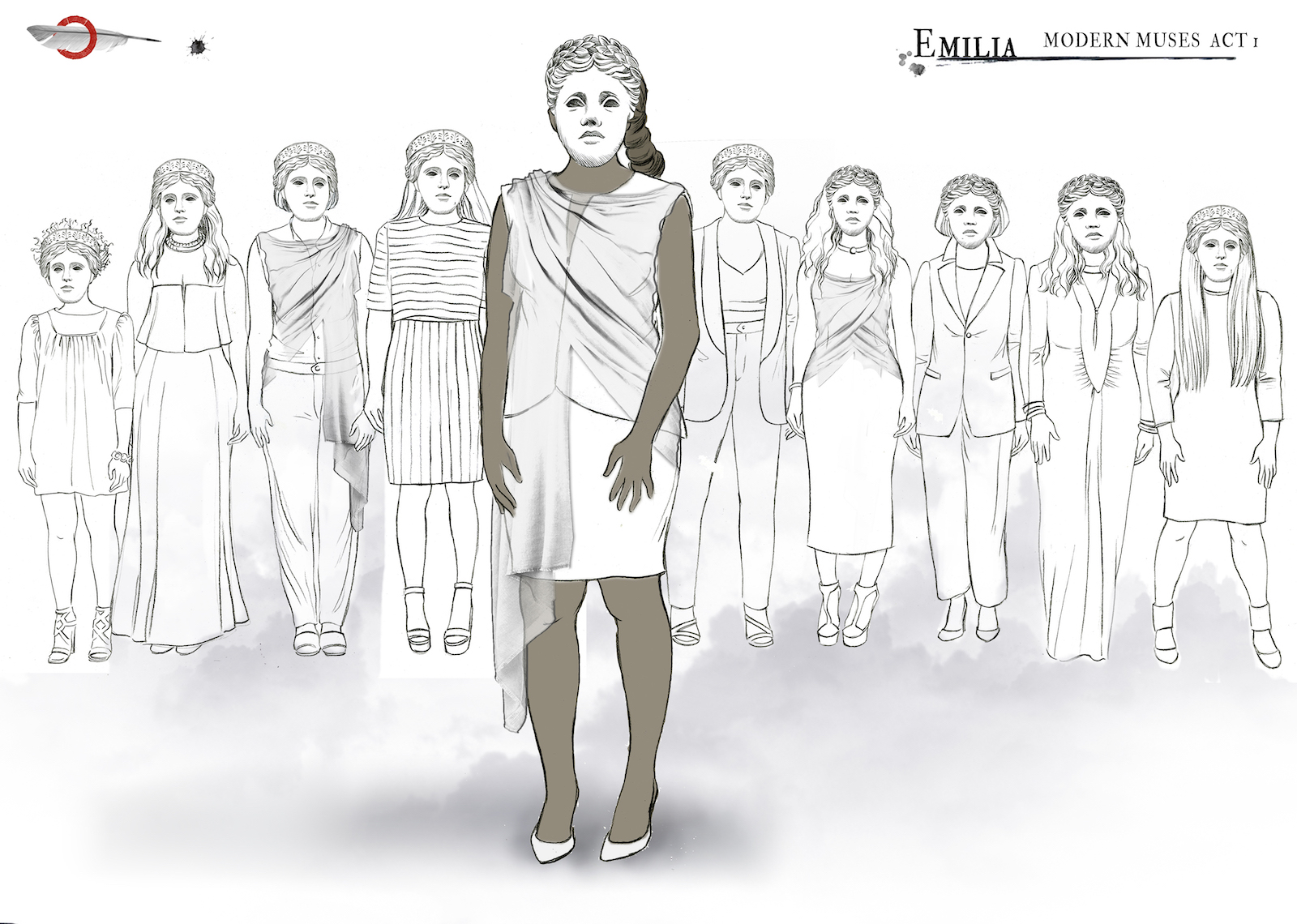 Outline sketches of costume design shows 10 different outfits
