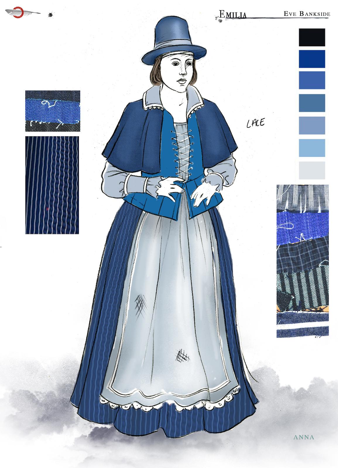 A costume sketch of a blue Elizabethan dress
