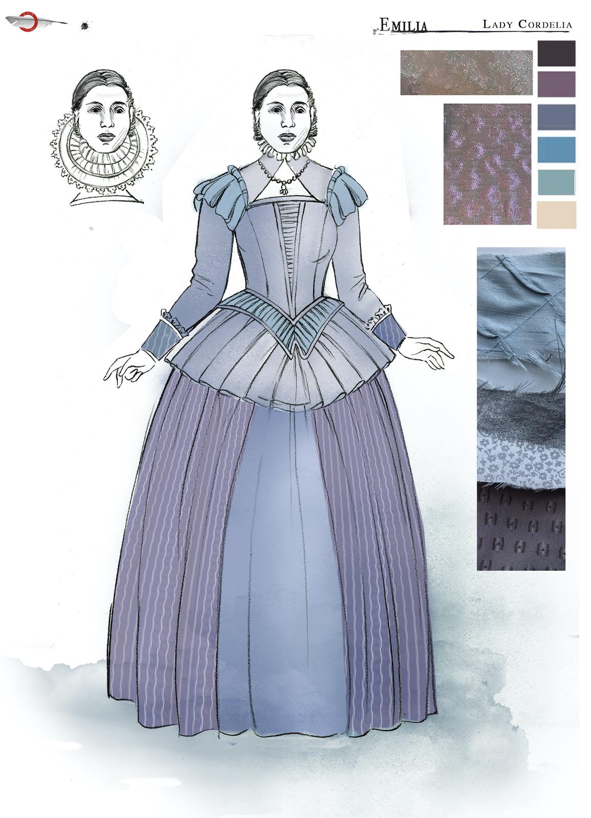A costume sketch of a lilac Elizabethan dress