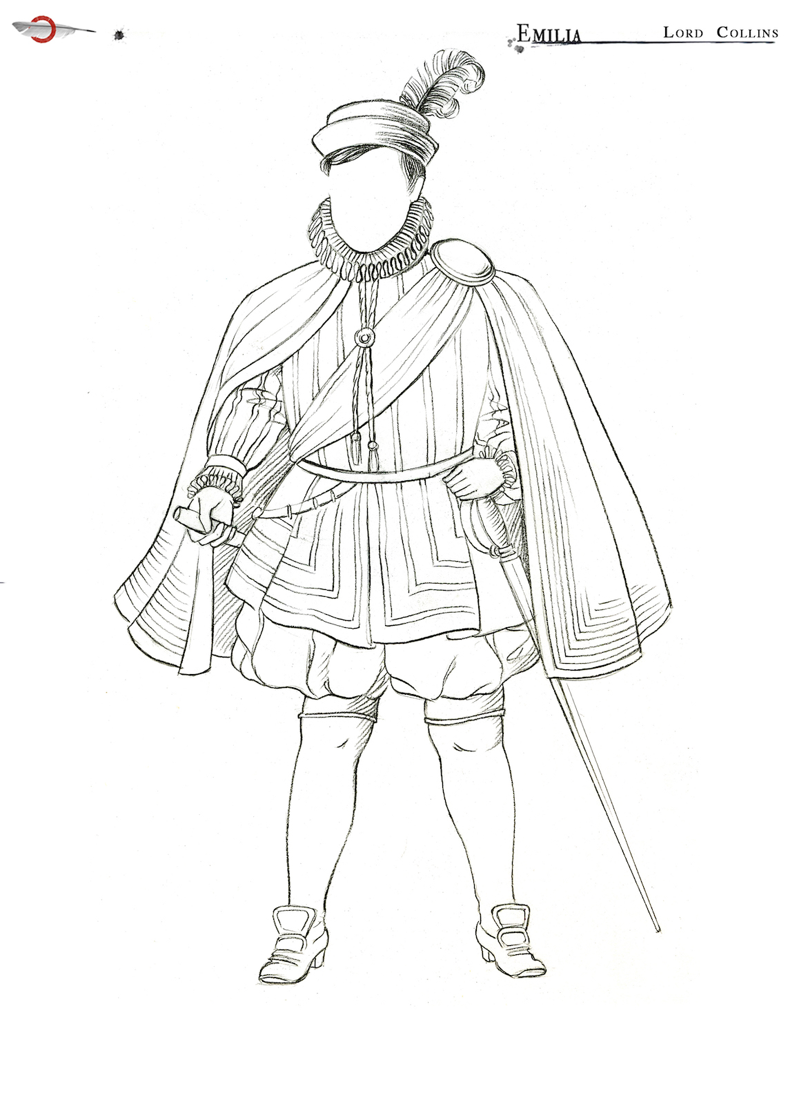 An outline of a costume sketch of a male Elizabethan costume