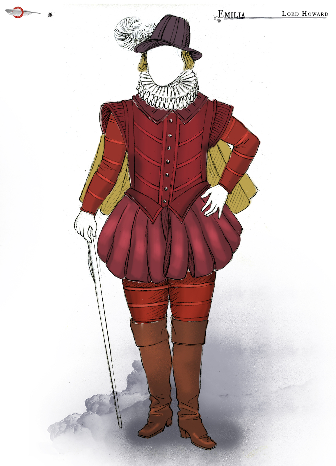 A costume sketch of red male Elizabethan outfit