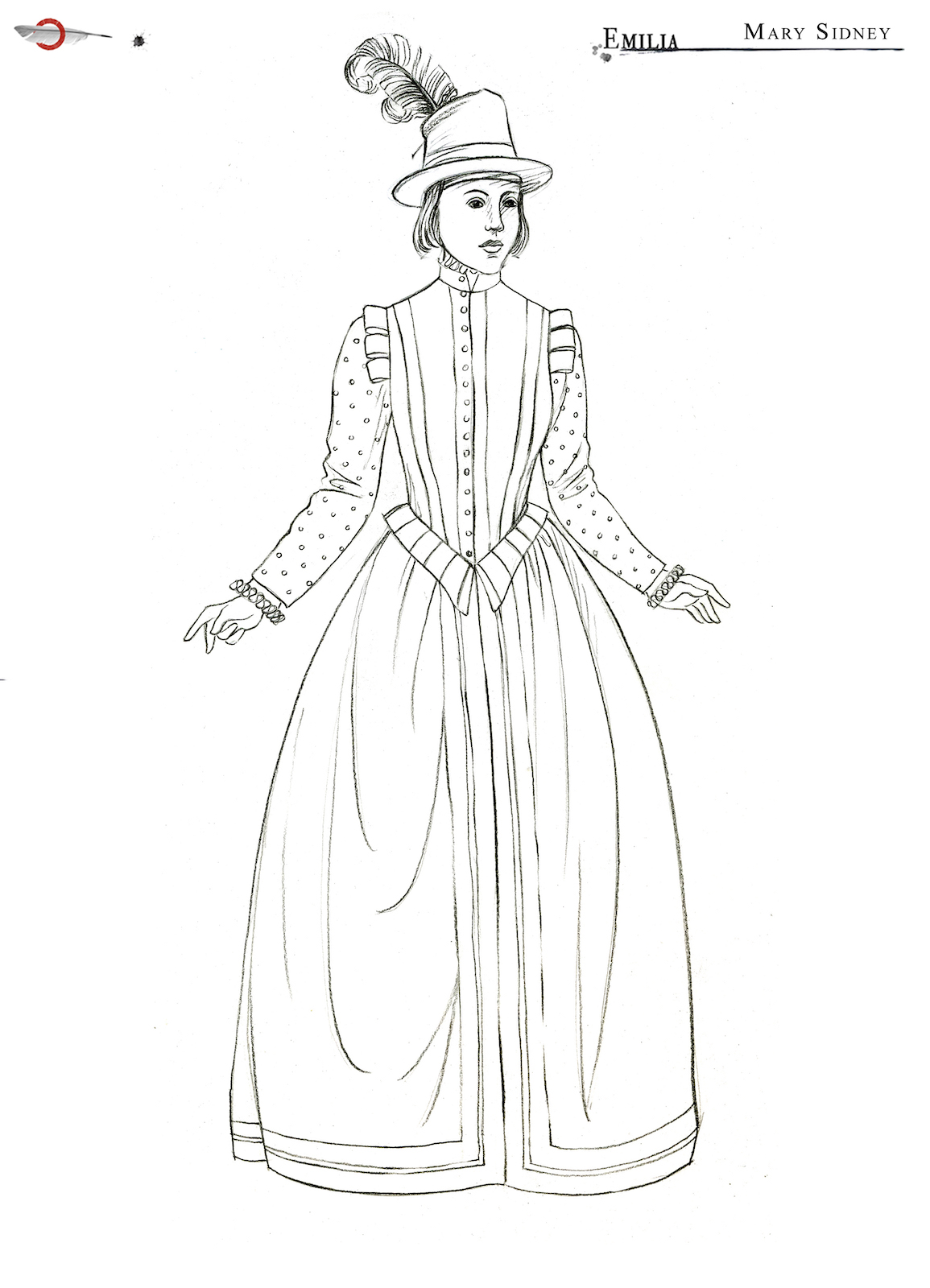 A costume sketch of an Elizabethan dress and a hat with a feather in it
