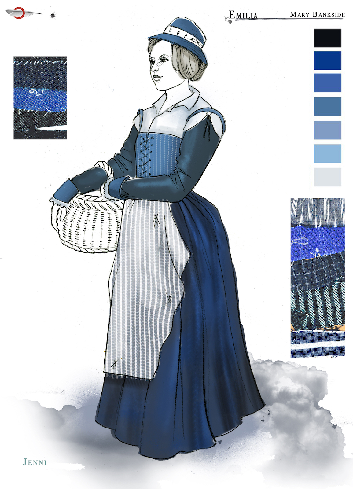 A costume sketch of a blue Elizabethan dress and the figure holds a basket