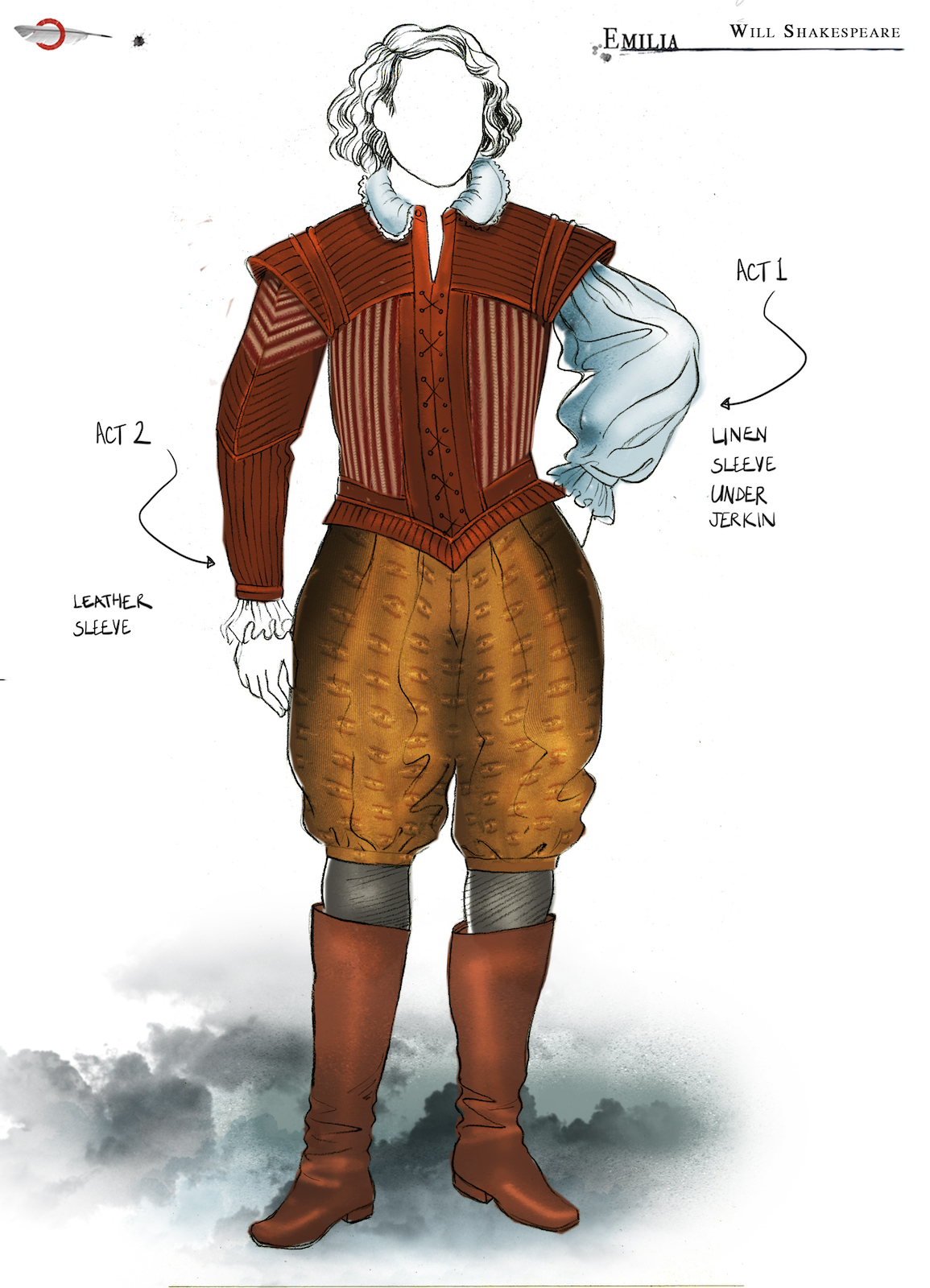 A costume sketch of a male Elizabethan outfit with linen puffed sleeves