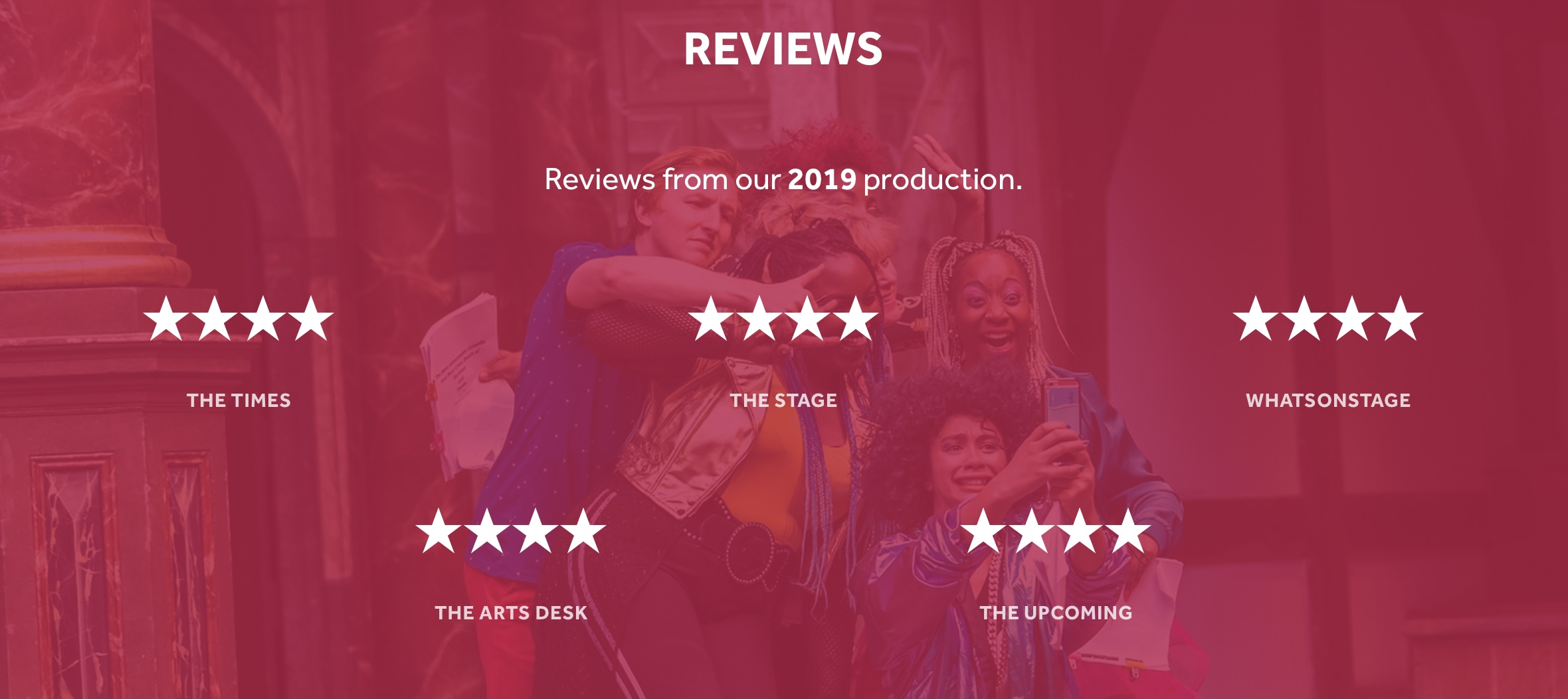 A pink image has reviews written across it, all of them four star