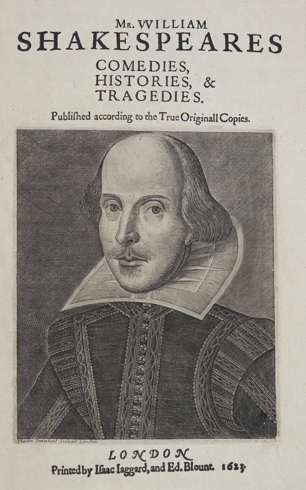 A portrait of William Shakespeare engraved by Martin Droeshout as the frontispiece for the title page of the First Folio