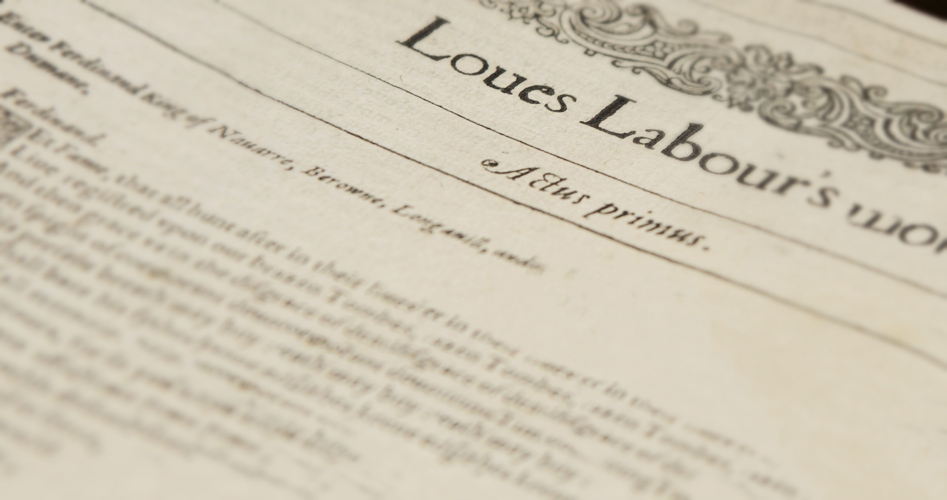 A first page from an old quarto text, with the title: Loues Labours wonne