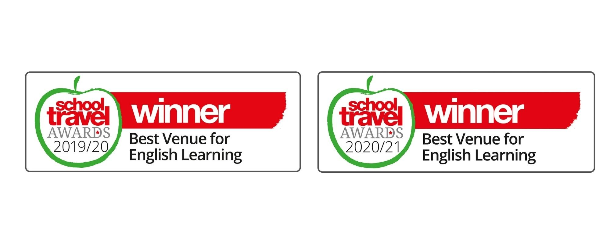 Two logos sit side by side indicating Shakespeare's Globe's win at the 19/20 and 20/21 School Travel Awards
