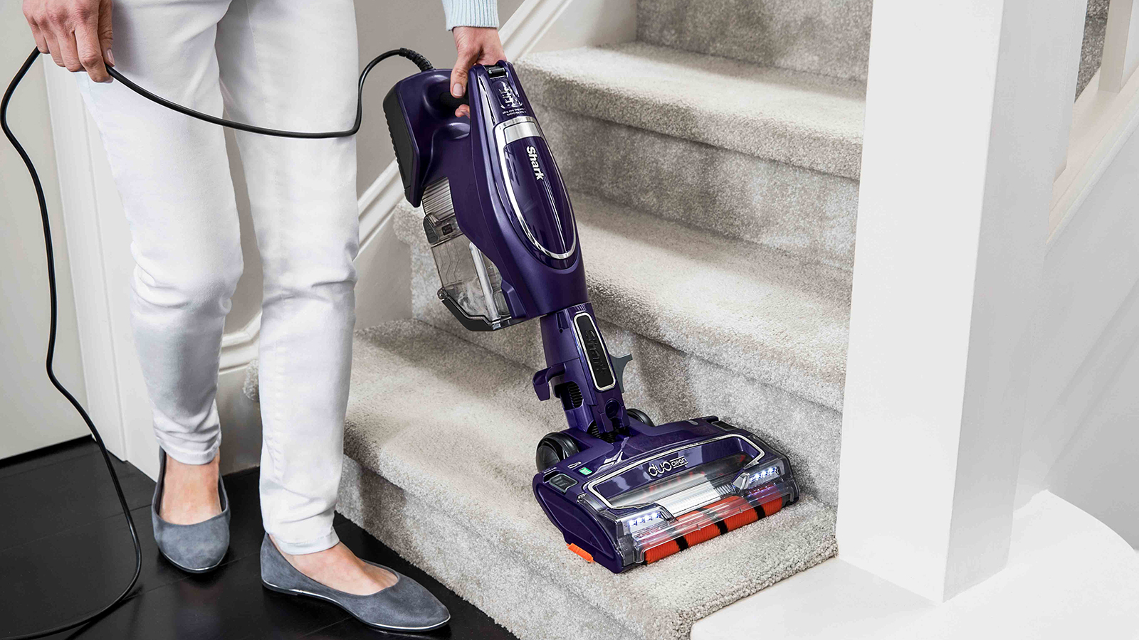 Stair Cleaning with Shark DuoClean Corded Stick Vacuum Cleaner