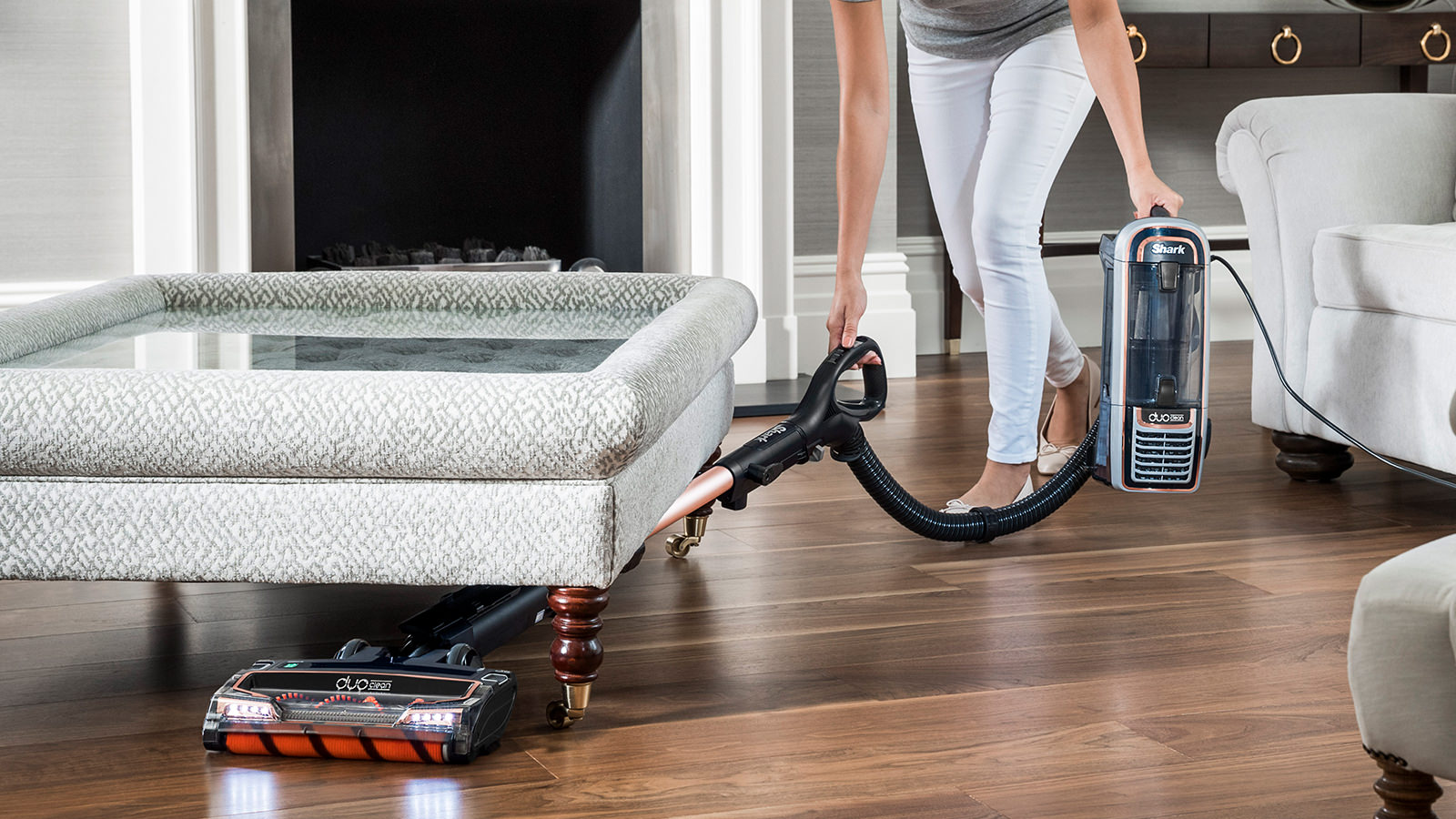 Under Furniture Cleaning with the Shark DuoClean Upright Vacuum Cleaners with Powered Lift-Away, True Pet Model AX910UKT