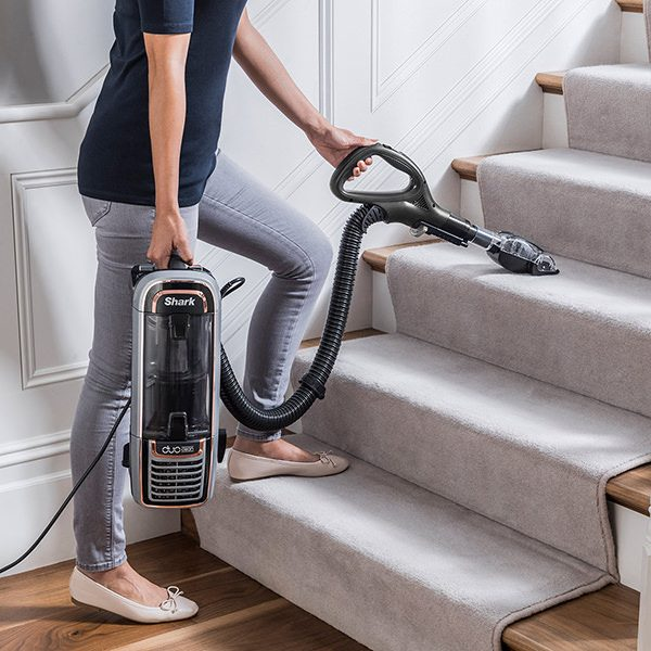 Versatile Cleaning on Stairs with the Shark DuoClean Upright Vacuum Cleaners with Powered Lift-Away, True Pet Model AX910UKT
