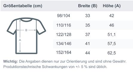 Kids T-Shirt Größentabelle