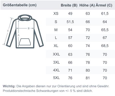 size chart organic basic hoodie