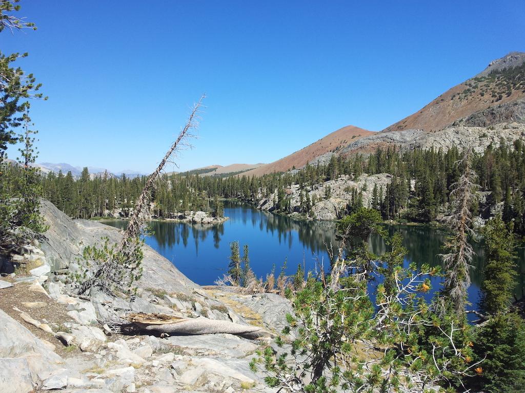 Jezero, mezi stromy jsou další jezera a stany