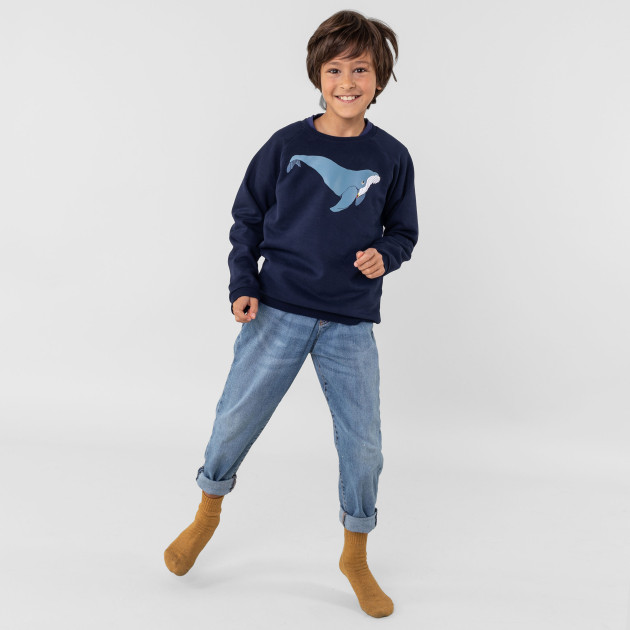"Kids Sweatshirt ""Buckelwal"" nachtblau"