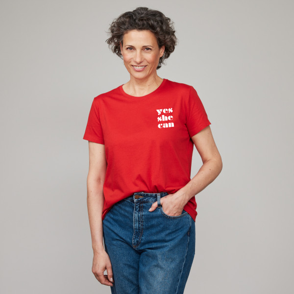 """Special Edition Damen T-Shirt """"Yes She Can"""" sommerrot"""