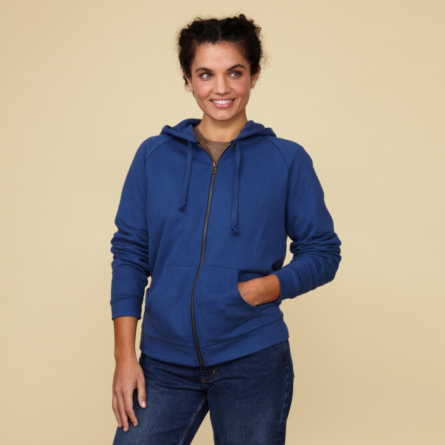 Damen Kapuzenjacke mit Greenpeace Logostick azurblau