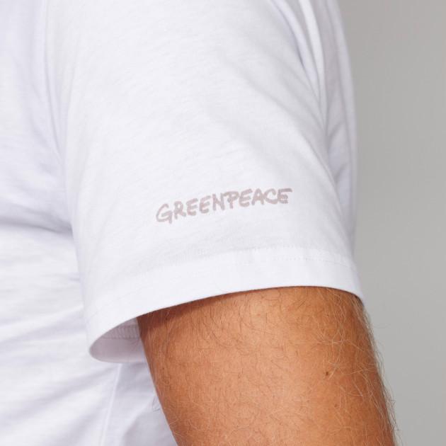 Herren Basic T-Shirt Kurzarm weiß mit Greenpeace-Logo