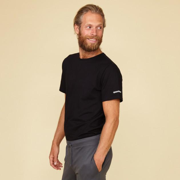 Herren Basic T-Shirt Kurzarm schwarz mit Greenpeace-Logo