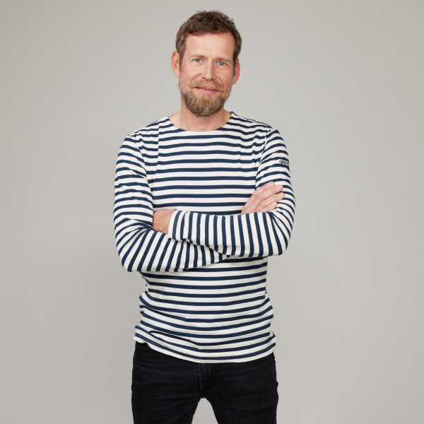 Herren Langarm Ringelshirt mit Greenpeace Logostick cremeweiss/dunkelblau