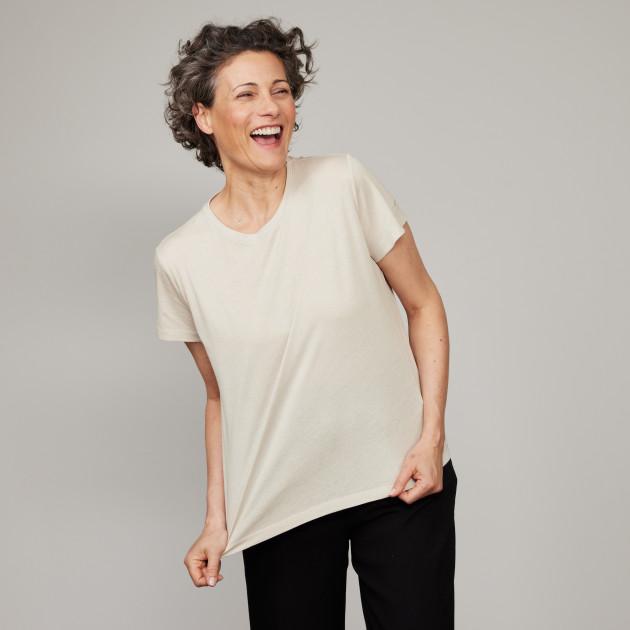 Damen Basic T-Shirt Kurzarm kieselgrau