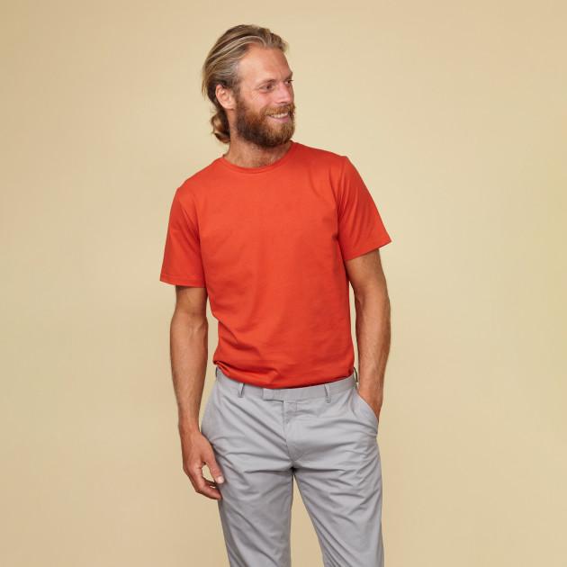 Herren Basic T-Shirt Kurzarm orangerot
