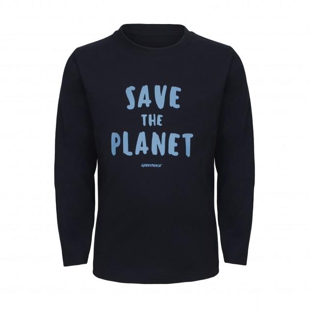 """Kids Langarm Shirt """"Save the Planet"""" hellblau"""