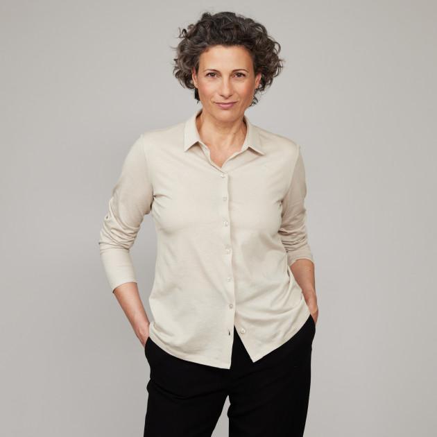 "Damen Jersey Bluse ""Peace"" kieselgrau"