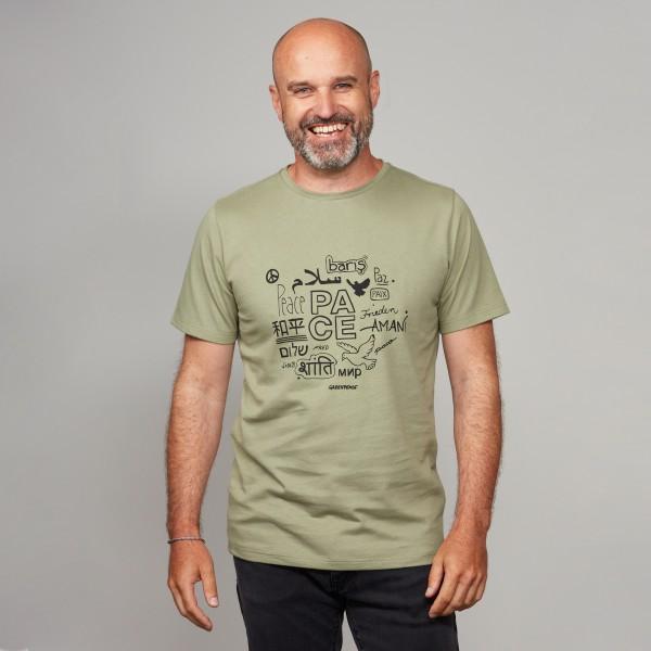 """Herren T-Shirt """"Peace"""" khakigrün"""