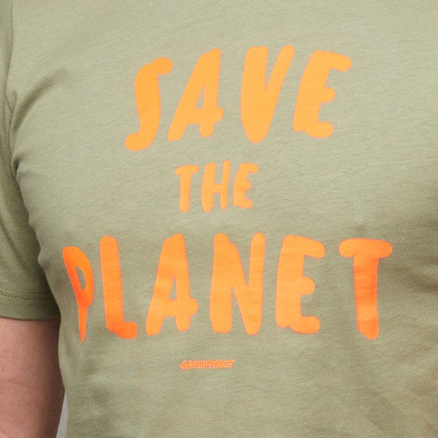 "Herren T-Shirt ""Save the Planet"" khakigrün"