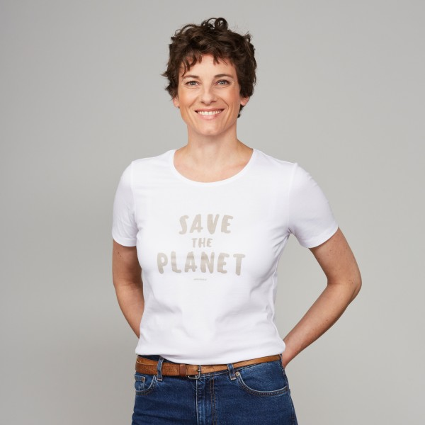 "Damen T-Shirt ""Save the Planet"" weiß"