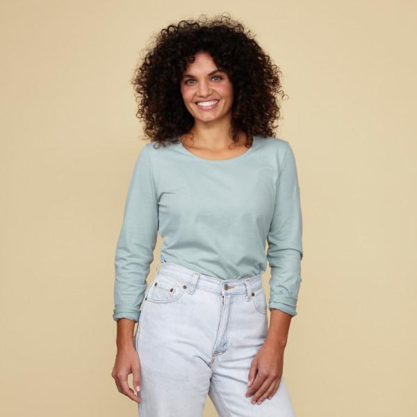 Damen Langarm Shirt mit Greenpeace Logostick salbei