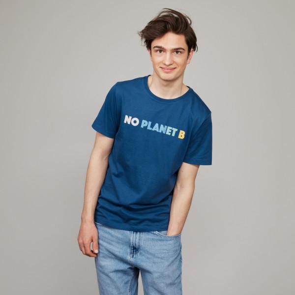 """T-Shirt """"No Planet B"""" jeansblau"""