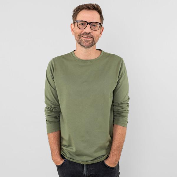 Herren Langarm Shirt olive