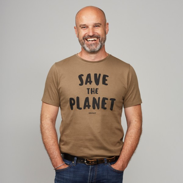 """Herren T-Shirt """"Save the Planet"""" steinnuss"""