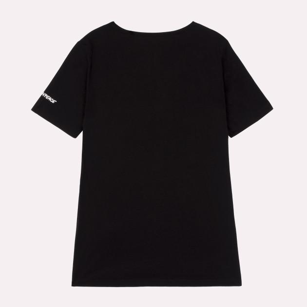 Damen T-Shirt Kurzarm schwarz mit Greenpeace-Logo