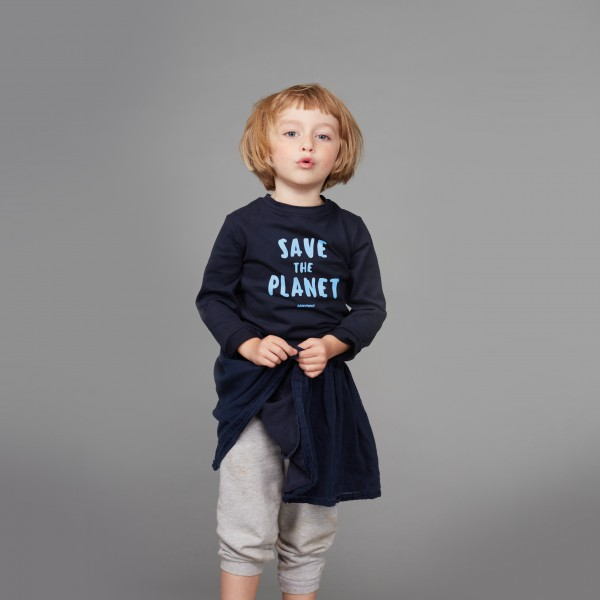 "Kids Langarm Shirt ""Save the Planet"" hellblau"