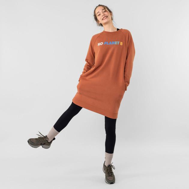 """Sweatshirt-Kleid """"No Planet B"""" terracotta"""