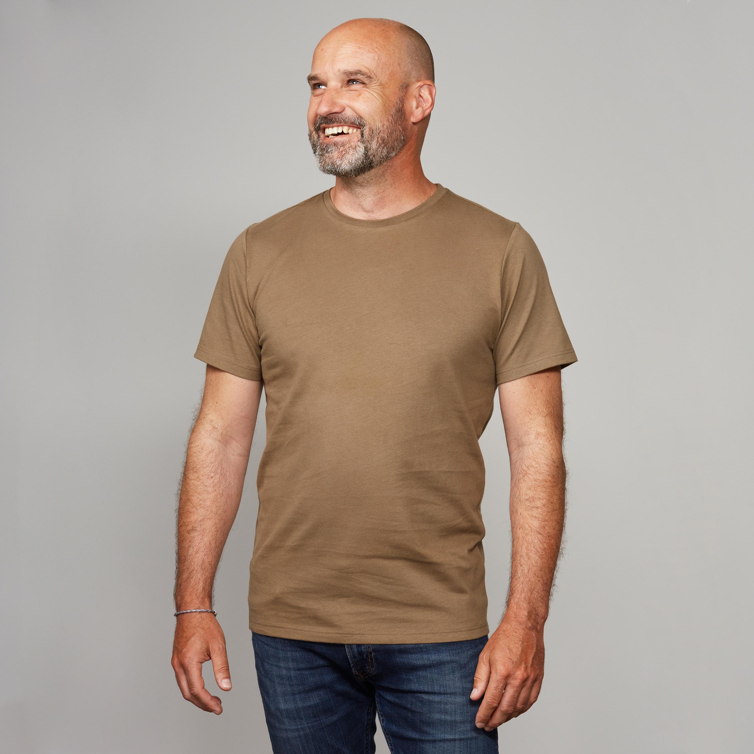 Herren Basic T Shirt Kurzarm steinnuss