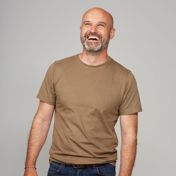 Herren Basic T-Shirt Kurzarm steinnuss