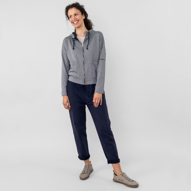 Damen Kapuzen-Blouson double knit nachtblau/kieselgrau