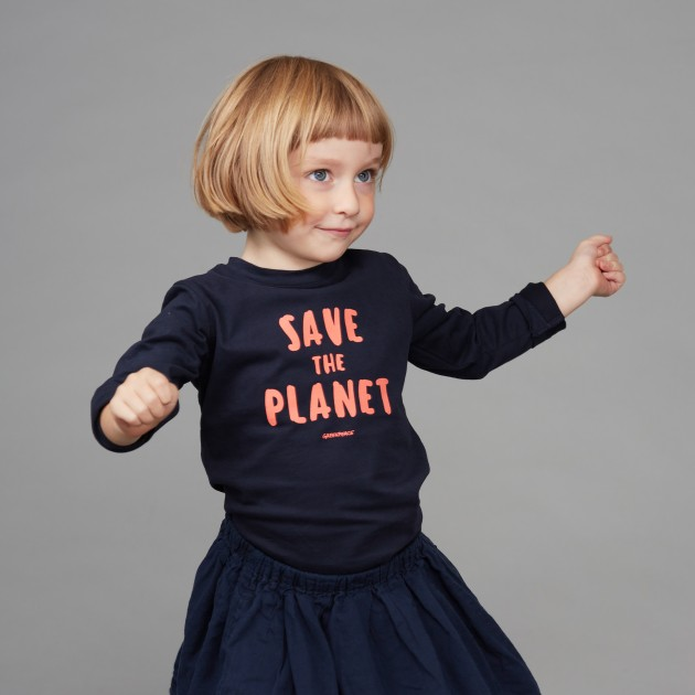 "Kids Langarm Shirt ""Save the Planet"" rosa"