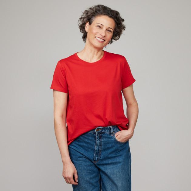 Damen Basic T-Shirt Kurzarm sommerrot