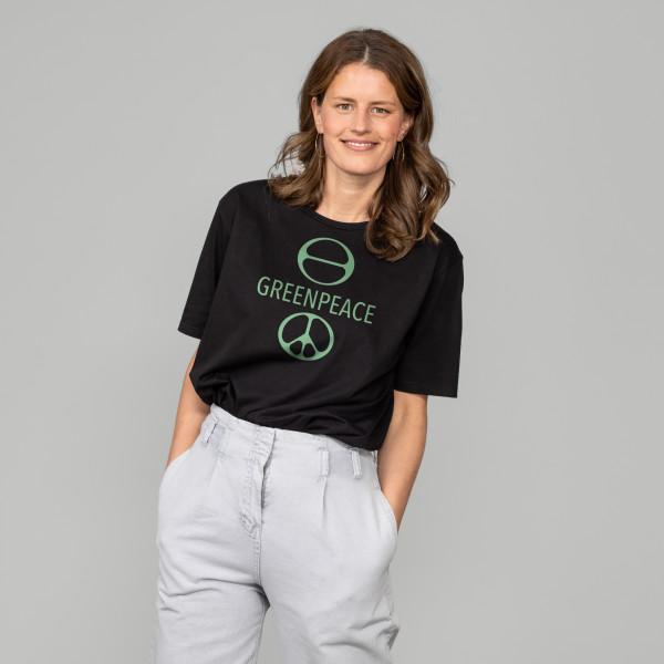 """Jubiläums T-Shirt """"Greenpeace Symbol"""" schwarz"""