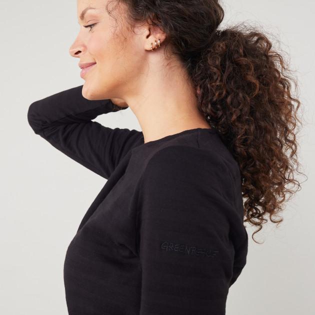 Damen Langarm Shirt Rippenoptik schwarz
