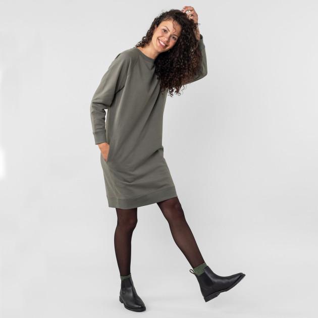 Damen Sweatshirt-Kleid khaki-braun