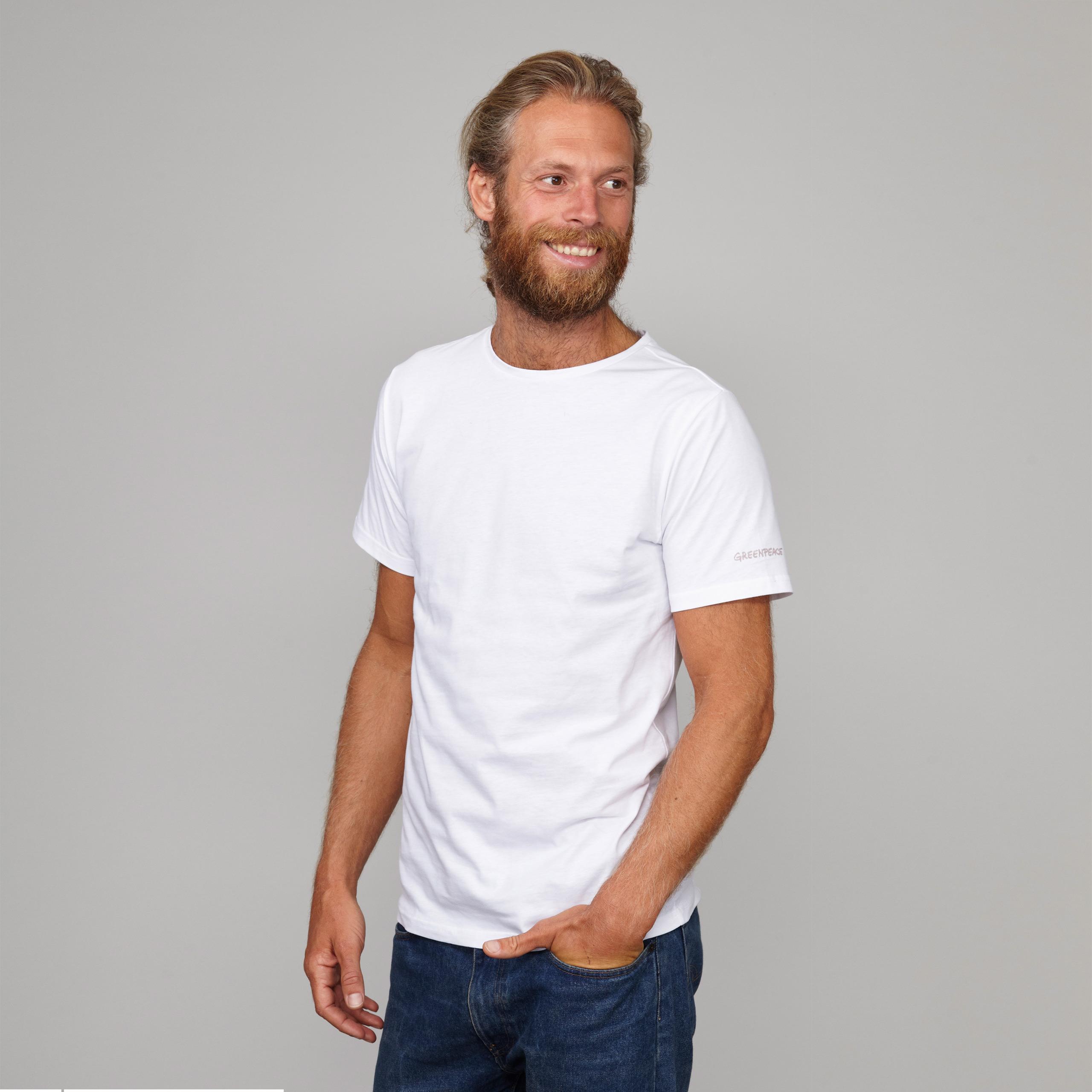 Herren Basic T Shirt Kurzarm weiss mit Greenpeace Logo
