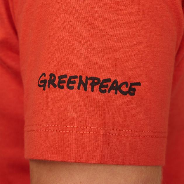 Damen T-Shirt Kurzarm orangerot mit Greenpeace-Logo