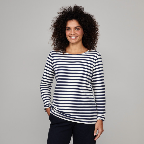 Damen Langarm Ringelshirt mit Greenpeace Logostick cremeweiss/dunkelblau