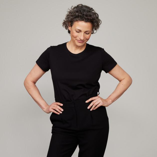 Damen Basic T-Shirt Kurzarm schwarz